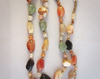 "Vintage 60 's Gems Multicolored agate necklace ""Beggar Bead Chain"" 70 cm."
