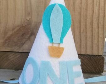 Hot air balloon first birthday hat, boy's first birthday hat, girl's first birthday hat