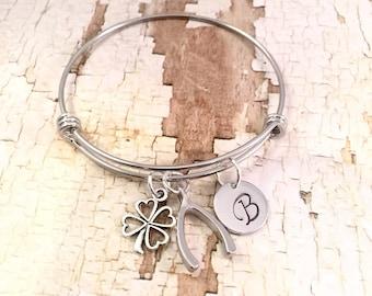 Personalized Good Luck Bracelet, Lucky Charm bracelet, Graduation Bracelet, Wishbone charm, Four leaf clover charm, adjustable bangle