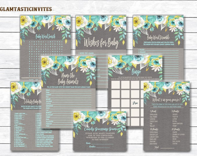 Rustic Baby Shower Game Package, Floral Baby Shower Game Package, Baby Shower Game Package, Flower Baby Shower Game Package, Boy, Mint, Gold