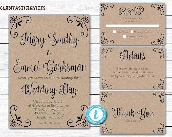 Kraft Wedding Invitation, Kraft Wedding Invitation Set, Printable wedding set, Rustic Wedding Invitation, Kraft, Wedding Template, YOU EDIT