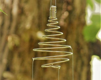 Upcycled Coiled Spiral Whisk & Spoon Fish Windchime-Kinetic Metal Garden Art-Recycled houseware-Nautical Marine Sculpture-Cute Housewarming