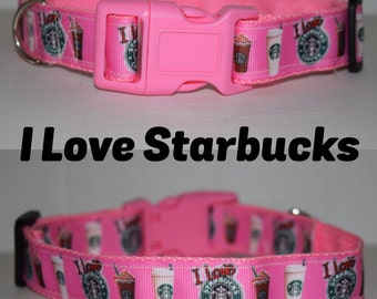 "I Love Starbucks 1"" Dog Collar"
