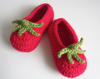 Tomato Baby Booties - crocheted bamboo blend - red & green - fruit vegetable crochet booties