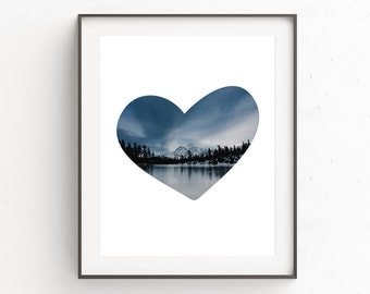 Heart Wall Art, Mountain Print, Digital Print, Love Heart Print, Love Print, Digital Art, Love Wall Art, Heart Art, Blue Art