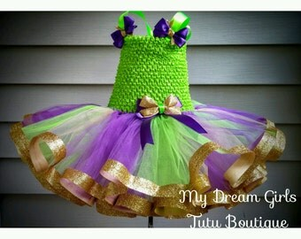 Mardi Gras pageant dress, Mardi Gras tutu dress, St. Patrick's day dress, purple, gold and green christmas dress, green and purple tutu