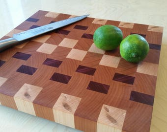 Cutting Board, End grain, Cherry, Maple, Purpleheart