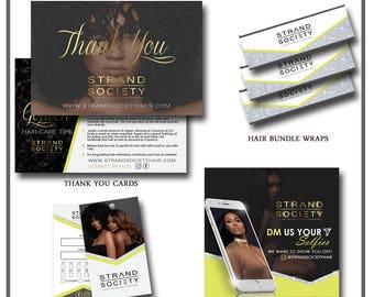 Hair Branding Package - Bundle Wraps, Thank You Card, Hang Tag, Social Media Flyer