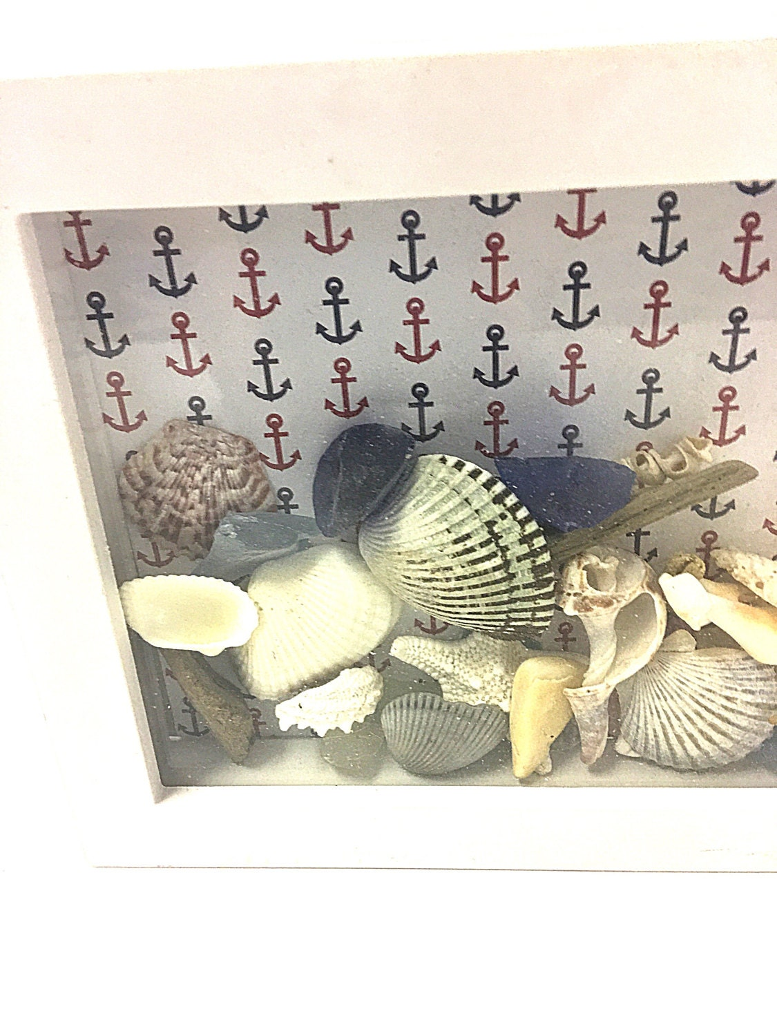 Beach decor shadowbox nautical decor seashells beach for Seashell bedroom decor