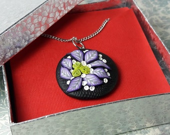 Pendant Necklace. Green and Purple Flowers. Flower Pendant. Handmade necklace. Polymer Clay Necklace. Statement Jewelry. Gift for Her
