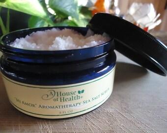Body Scrub, Mi Amor Aromatherapy Sea Salt Scrub 8 oz., Exfoliant, Salt Scrub, Body Polish, Sea Salt Scrub, Vegan