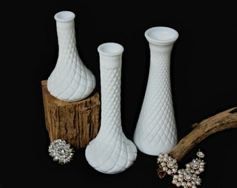 "Pair of Vintage Diamond Quilt Hoosier Milk Glass Vases 6"" & 9"" | Milk Glass M 4062, M 4092 | Wedding, Home Decor Milk Glass Diamond Cut Vase"
