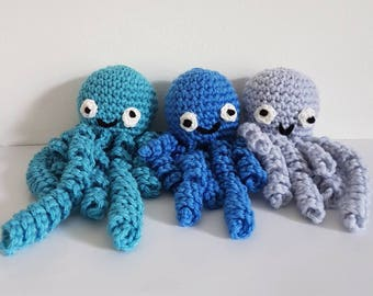 Octopus Toy, Octopus Toy with Tentacles, Crochet Octopus, Jelly Fish with Tentacles, Small Octopus - MADE TO ORDER