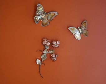 Vintage Brass and Copper Branch of Flowers with Butterflies Wall Hanging/ Wall Decor/Wall Plaque/ 1970s