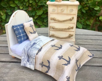 Dollhouse beach bed and bedding, miniature furniture, nautical bedding