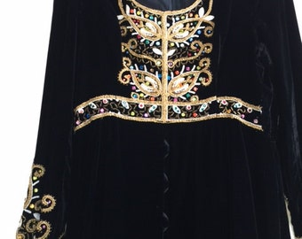 Vintage Black Velvet & Brocade Evening Gown