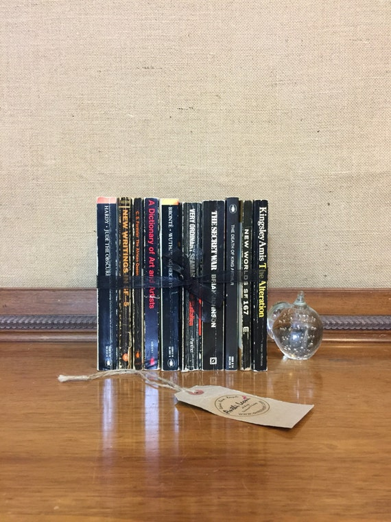BLACK Paperback Vintage Book Collection - Instant Book Stack - Interior Design Shelf Staging - Black Home Decor - Custom Sourced Books