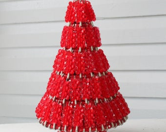 Handmade Vintage Red Beaded Safety Pin Christmas Tree with Lights-Red Beads
