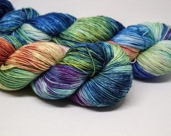 Jelly Bean - Fountain Pen fingering weight 70% superwash merino 20 silk 10 cashmere hand dyed speckled variegated yarn