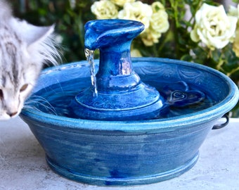 Handmade Cat Fountain, Ceramic Cat Fountain, Cat Water Fountain, Cat Fountain