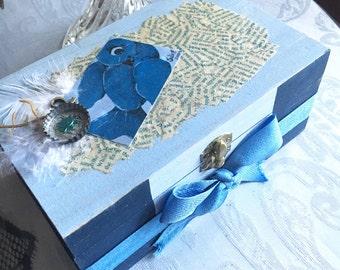Blue Bird Jewelry Box   Whimsical Art Jewelry Box   Handmade OOAK Trinket Box   Tarot Box   Feathers Decoupaged Newspaper Box