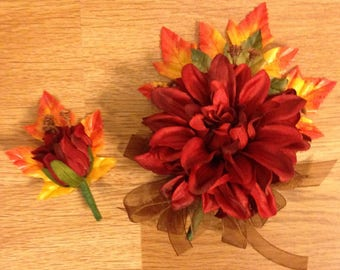 Fall Treasures corsage and boutonnière set