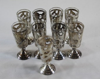 10 Sterling Silver Glass Inserts w/9 Glasses