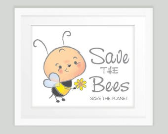 Save the Bees, Save the Planet, cute cartoon bee environmental message nature print INSTANT DOWNLOAD
