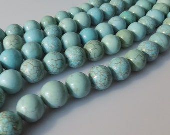 "Natural 10mm Round Turquoise Magnesite Gemstone Beads (15"" Strand)"