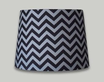 Grey White Chevron Lampshade French Drum Tapered Lamp Shade Lightshade  25cm 30cm 35cm 40cm 50cm 60cm 70cm