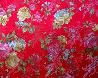 0,5 Meter of Red Jacquard Damask Fabric Floral Flower Pattern