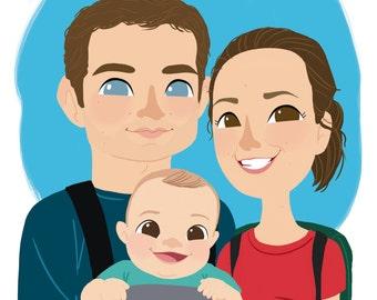 PERSONALIZADA FAMILIA RETRATO - 3 miembros-dibujos animados, divertido. Archivo digital. Regalo para Navidad, cumpleaños, aniversario, boda...