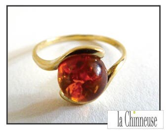 RING amber & gold / Vintage Amber ring / ring Vintage gold and amber.
