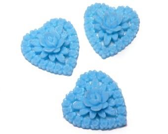 Vintage Japanese aceteloid blue flower hearts, 1950s, 19x16 mm - 2 pcs