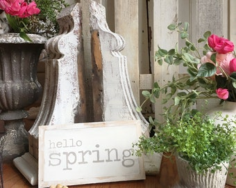 12x6 Hello Spring HandPainted Wood Sign