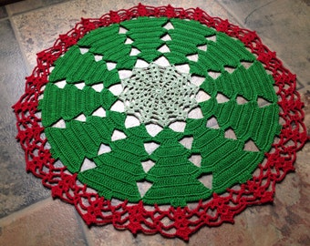 Christmas Tree Doily - Holiday edition - handmade crochet - home decor, housewarming, art doily