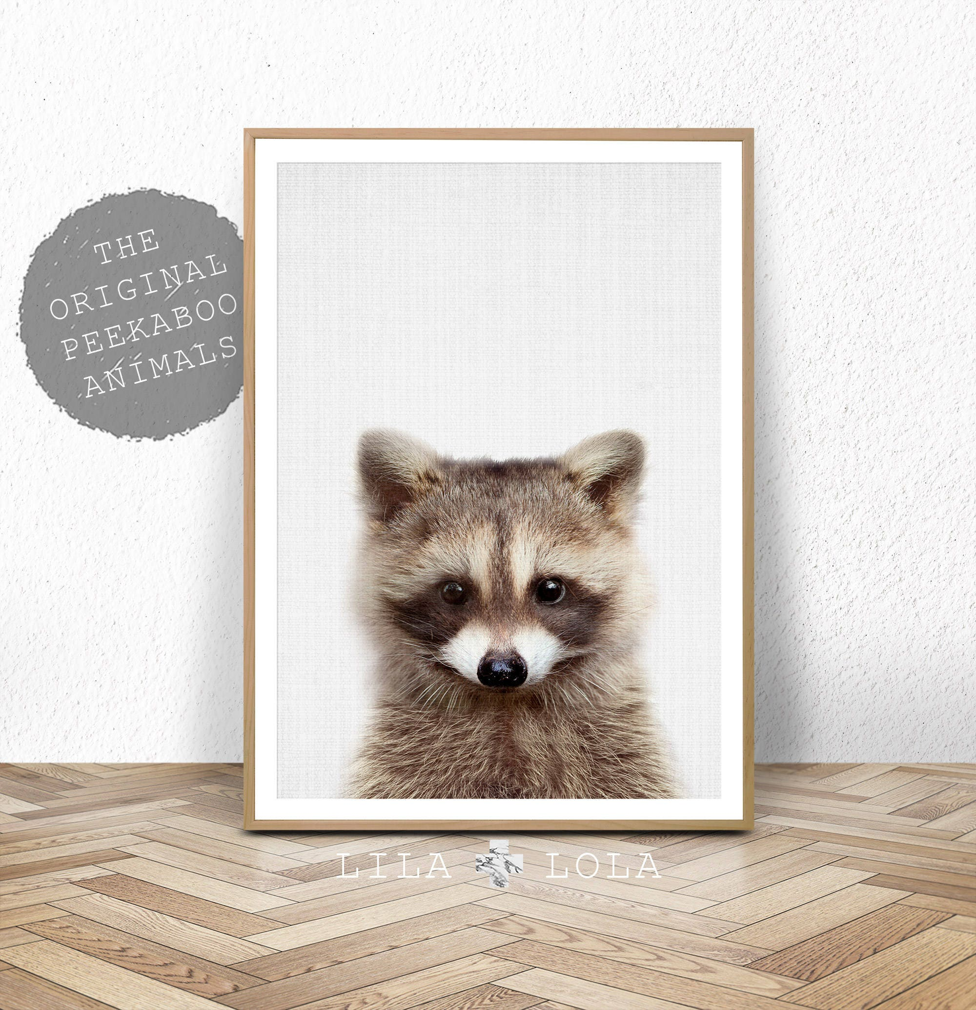 raccoon print baby animal woodland animals wall art nursery