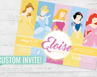 Disney Princess Invitation, Disney Princesses, Disney, Belle Invitation, Cinderella, Aurora, Snow White, Ariel, Princess Party, Birthday