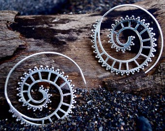 """Boho Spiral Earrings """"Mechanic Spiral"""" Silver"""