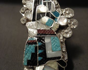 One Of The Most Detailed Zuni Kachina Dancer Turquoise Silver Ring