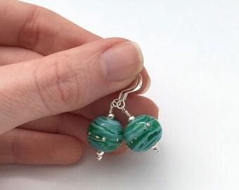 Colourful earrings / sky blue earrings / blue and green glass earrings / lampwork bead earrings / bohemian earrings / blue jewellery