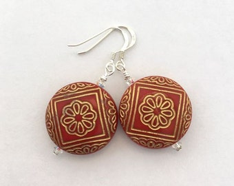 Red filigree earrings / Mexican inspired earrings / red flower earrings / Mexican jewellery / red jewellery / red earrings for her