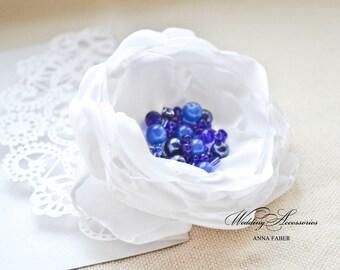 Bridal hair clip, White-Blue flower hair clip,  Wedding hair piece, Flower Bridal Hair Clip, Wedding Hair Accessories
