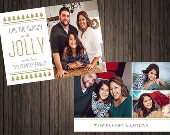 Tis The Season to be Jolly Gold Foil  2 Sided Photo Holiday/Christmas Card (58) Happy New Year