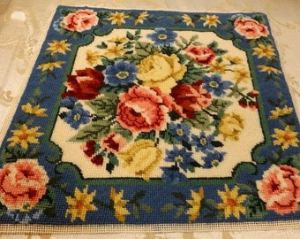 "Rose Floral finished Wool Needlepoint Pillow Top 13"" square"