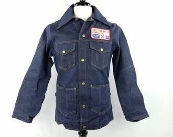 70s Deadstock Dark Blue Denim Jacket with Farmer's Feed Patch, Keystone Mills PA, Dark Wash Blue Jean Snap Up Jacket, Vintage Mens Small