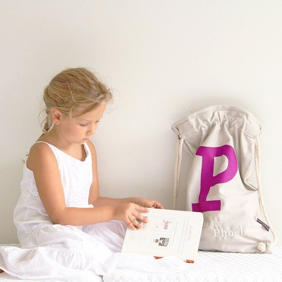 Library bag Stone with Purple letter, Personalised Kids Bag, personalized bag, drawstring bag, childs bag, daycare bag,