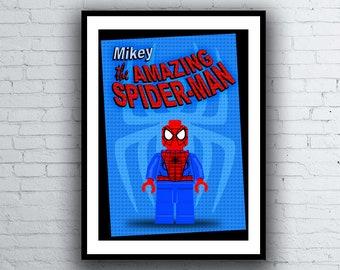 "Spiderman Lego ""Personalised"" A4 Minifigure Kids Nursery Room Wall Art Poster Print"