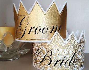 Wedding Crowns, Engagement Crowns, Wedding Rehearsal Crowns, Bride and Groom, Bride and Groom Crowns, Wedding Favors, Groom Gift