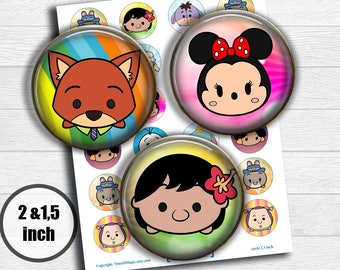 "Disney Tsum Tsum Digital Collage Sheet 2"" 1.5"" circle clipart Printable Image Download for favor magnets cupcake toppers birthday"